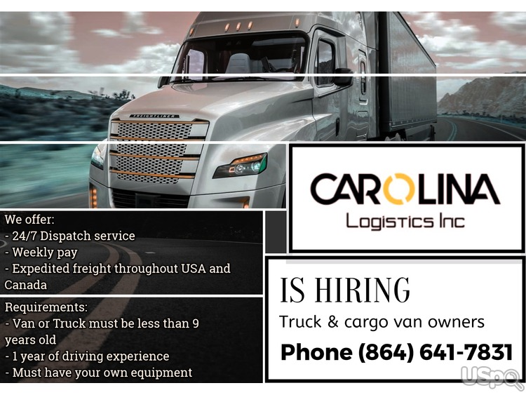 Carolina Logistics Inc is hiring truck&cargo van owners