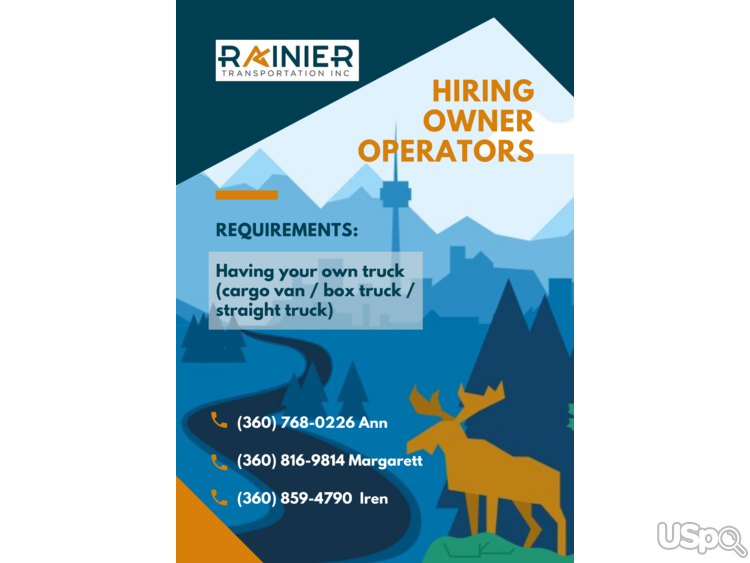 Rainier Transportation Inc invite drivers to cooperation with own truck