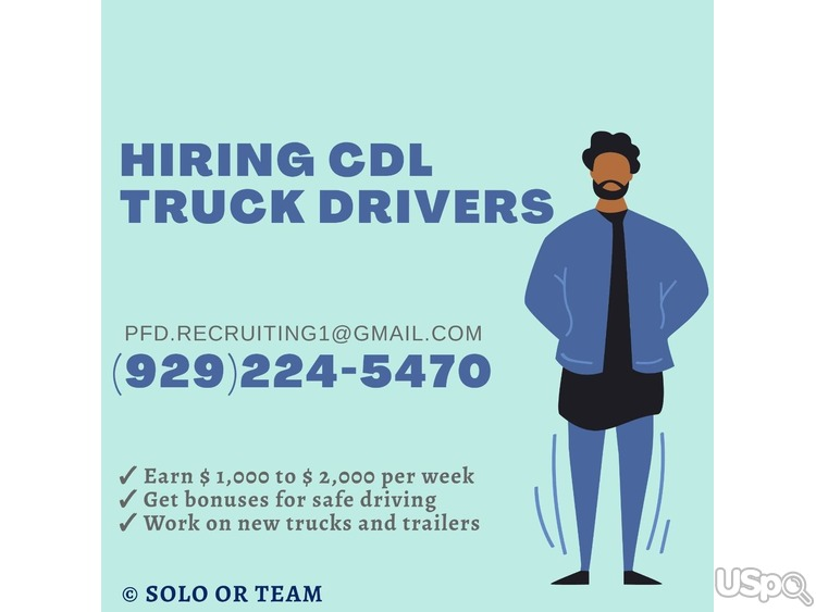 Hiring CDL truck drivers - TEAM and Solo
