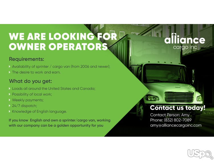Alliance Cargo Inc активно набирает водителей со своим автомобилем :