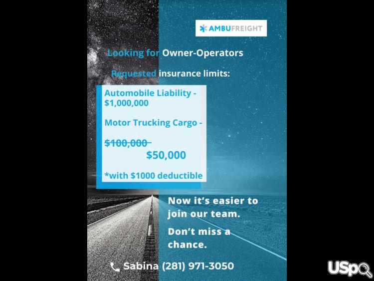 Ambufreight Inc приглашает к сотрудничеству водителей! Новые условия страховки!
