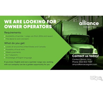 Alliance Cargo в поиске Owner operator со своим автомобилем