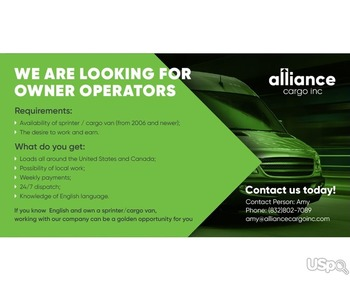 Alliance Cargo Inc приглашает на работу водителей со своим авто