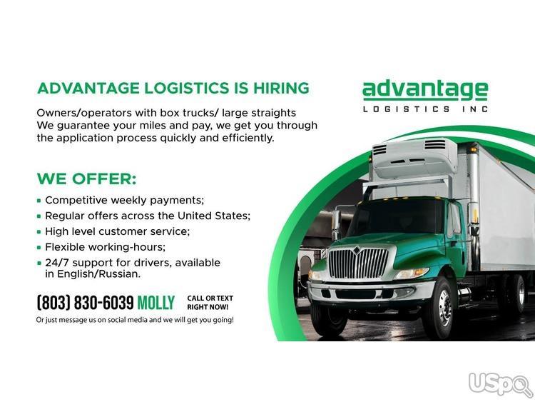 Advantage Logistics предлагает сотрудничество для водителей со своими Box trucks / Large Straight