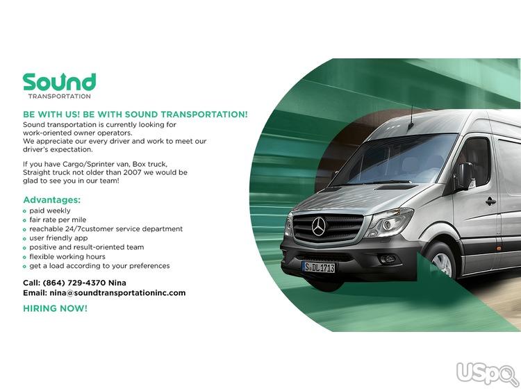 Sound transportation is hiring owner operators.