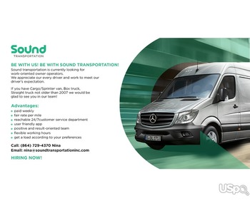 Sound transportation is hiring owner operators.