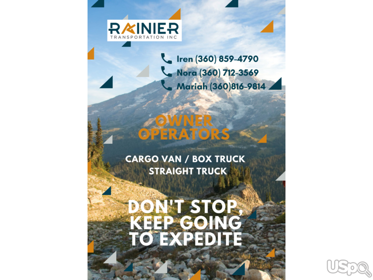 Rainier Transportation is hiring owner operators