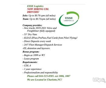 компании ESSE LOGISTICS LLC требуется водители CDL A!