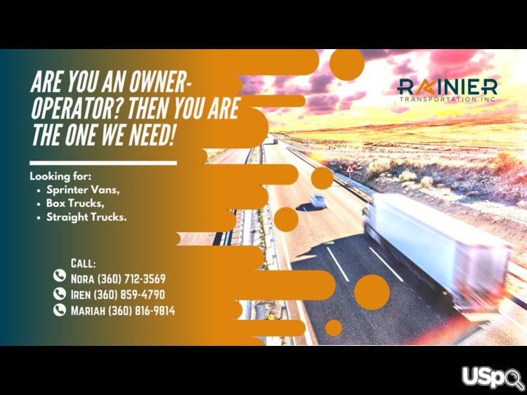 Rainier Transportation Inc ищет оунер-операторов
