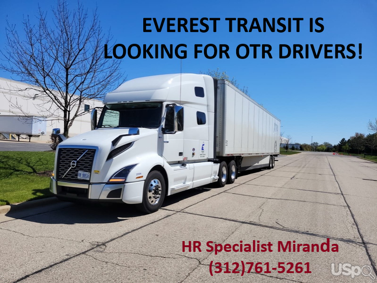 EVEREST TRANSIT IS LOOKING FOR OTR DRIVERS $2,500 weekly and 1099!