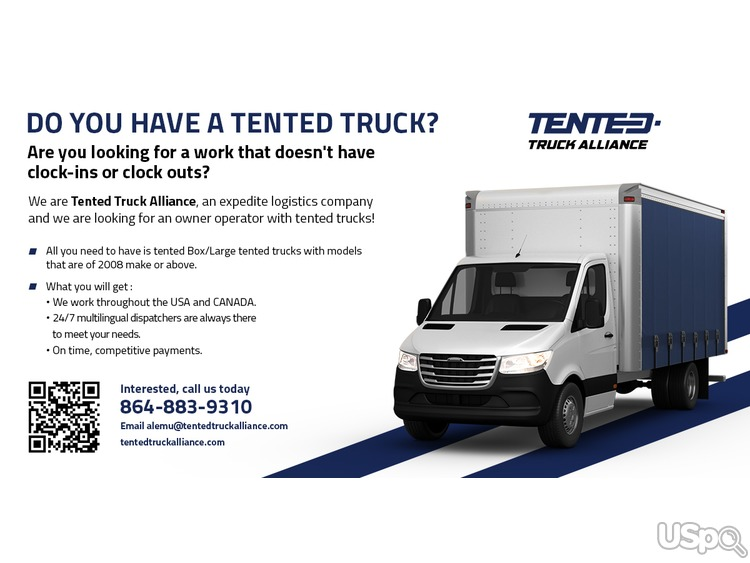 Owner operated tented truck/independent contactor
